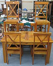 MODERN POLISHED WOODEN DINING TABLE AND SIX CHAIRS