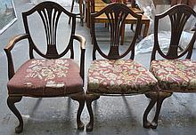 SET OF SIX (FOUR AND TWO) ANTIQUE MAHOGANY HEPPLEWHITE DINING CHAIRS