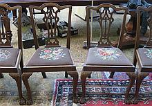 SET OF FOUR MAHOGANY DINING CHAIRS (AT FAULT)