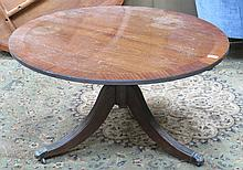 REPRODUCTION MAHOGANY LOW TILT TOP COFFEE TABLE ON CLAW SUPPORTS