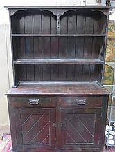 STAINED PINE KITCHEN DRESSER WITH PLATE RACK