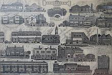 LARGE FRAMED PICTURES DEPICTING VARIOUS DRAWINGS OF FAZAKERLEY, APPROXIMATELY 69cm x 100cm