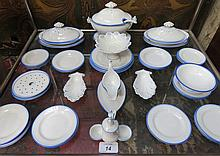 APPROXIMATELY FORTY-PLUS PIECES OF BLUE AND WHITE CHILDRENS DINNERWARE BY PETRUS REGOUT, MAASTRICHT, NETHERLANDS, CIRCA 1900