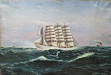 H. HUMPHREYS UNFRAMED OIL ON CANVAS DEPICTING A GALLEON ON STORMY WATERS WITH CUNARD LINER TO BACKGROUND.  APPROXIMATELY 51 X 76 CM