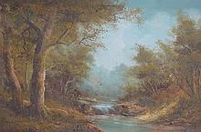D WILLIAMS, FRAMED OIL ON CANVAS DEPICTING A STREAM WITHIN A WOODLANDS SCENE