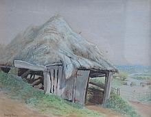 F DUDLEY, FRAMED WATERCOLOUR DEPICTING A COUNTRY BARN SCENE, APPROXIMATELY 22cm x 28.5cm
