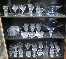 SUNDRY LOT OF GLASS INCLUDING TWO GLASS BOWLS, LFC CRESTED WARE, STUART AIR TWIST GOBLET, TAZZA, CANDLESTICKS, ETC.