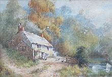 FRAMED COTTAGE WATERCOLOUR AND PENCIL SIGNED PRINT