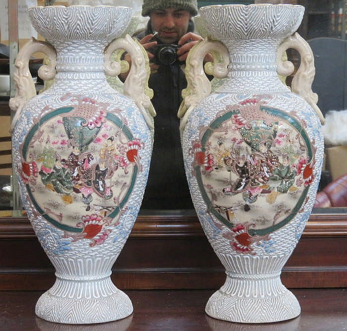 PAIR OF LARGE ORIENTAL CERAMIC VASES, APPROXIMATELY 46cm HIGH