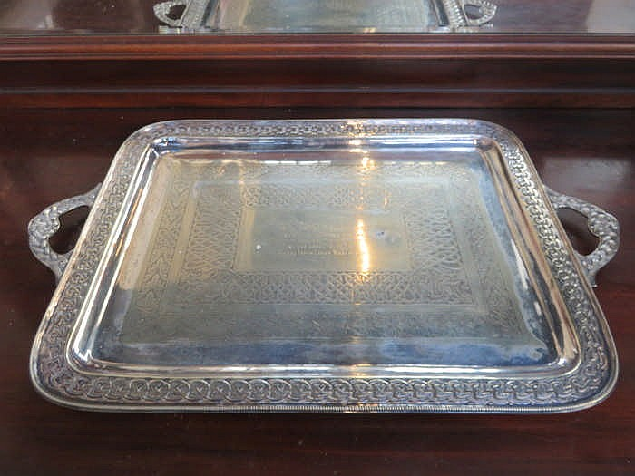 LARGE SILVER PLATED SERVING TRAY WITH ENGRAVED DECORATION