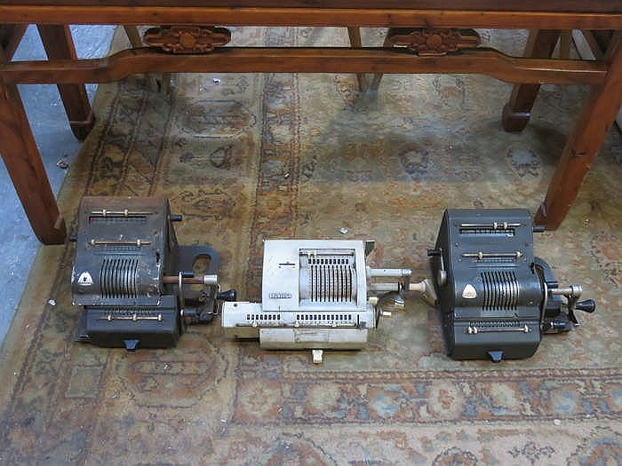 TWO VINTAGE BRUNSVIGA MANUAL ADDING MACHINES AND OLYMPIA MANUAL ADDING MACH