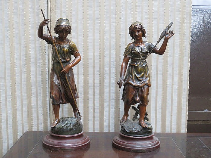 PAIR OF DECORATIVE SPELTER FIGURES ON STANDS- PANEUSE & FILEUSE, BOTH SIGNE
