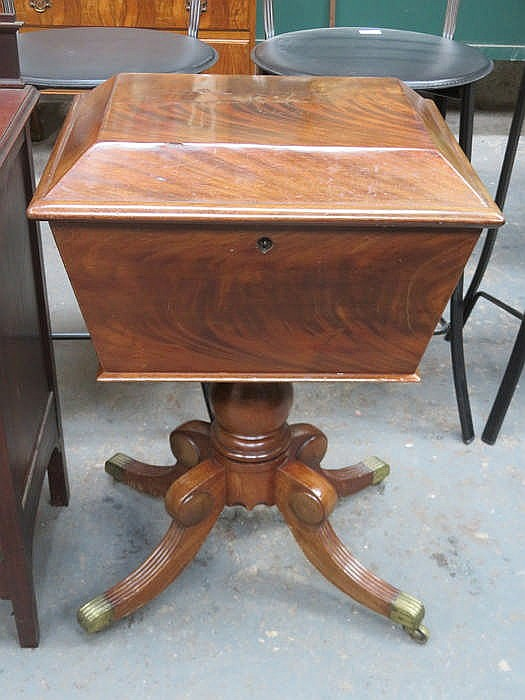 VICTORIAN MAHOGANY SARCOPHAGUS FORM TEAPOY WITH HINGED COVER AND FITTED SEC