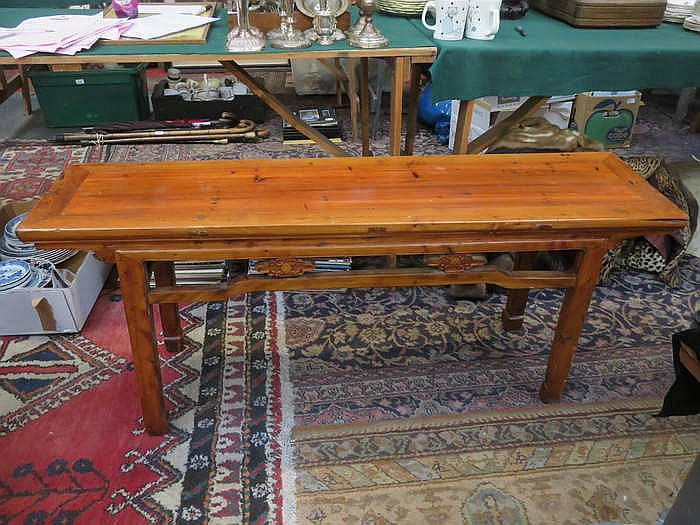 CARVED ORIENTAL STYLE WINDOW SEAT/LONG BENCH