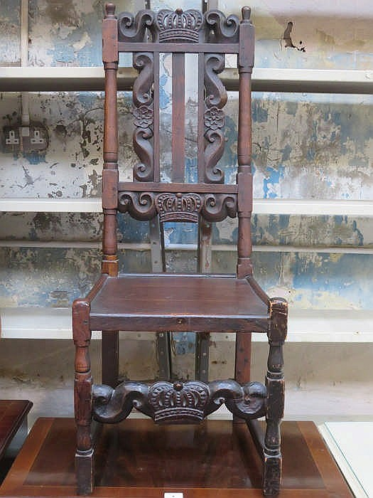 CARVED ANTIQUE OAK HIGH BACK SINGLE HALL CHAIR