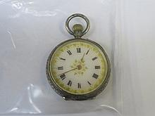 925 SILVER LADIES FOB WATCH WITH ENAMELLED DIAL