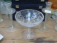 PAIR OF AIR TWIST GLASS CANDLESTICKS AND TAZZA