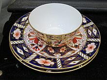 TWO ROYAL CROWN DERBY SIDE PLATES AND SIMILAR MILK JUG
