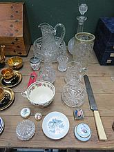MIXED LOT OF VARIOUS GLASSWARE, CERAMICS, PLATED SPOON, ETC.