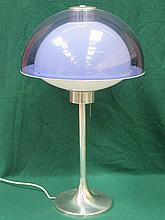 MODERN STYLISH CHROME TABLE LAMP WITH COLOURED PLASTIC SHADE, APPROXIMATELY