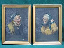 PAIR OF UNSIGNED ITALIAN STYLE OIL ON CANVAS PORTRAITS DEPICTING AN ELDERLY