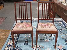 PAIR OF MAHOGANY BEDROOM CHAIRS WITH TAPESTRY UPHOLSTERED SEATS