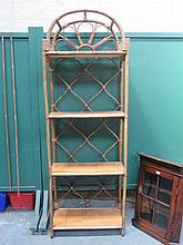 SET OF 1960s STYLE BAMBOO AND WICKER DOME TOPPED OPEN SHELVES