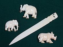 1920s/30s CARVED IVORY LETTER KNIFE AND THREE ANIMALS INCLUDING TWO ELEPHAN