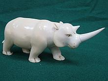 1920s/30s CARVED IVORY RHINO, APPROXIMATELY 7.5cm HIGH