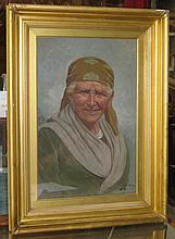 GILT FRAMED OIL ON CANVAS PORTRAIT DEPICTING AN ITALIAN LADY , SIGNED TO BO
