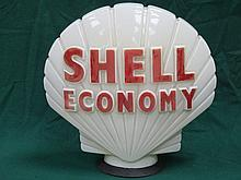 SHELL ECONOMY OPAQUE GLASS PETROL PUMP GLOBE WITH HEIGHTENED RED LETTERING