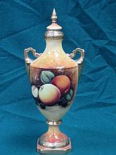 COALPORT HANDPAINTED FRUIT DECORATED URN WITH COVER, SIGNED M PINTER (AT FA