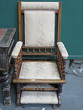 MAHOGANY FRAMED UPHOLSTERED AMERICAN ROCKING CHAIR WITH FOOT REST