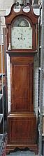 GEORGE III MAHOGANY INLAID CASED LONGCASE CLOCK WITH HANDPAINTED DIAL BY HE