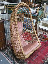 1960s BAMBOO AND WICKER HANGING EGG BASKET CHAIR