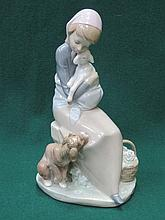 LLADRO GLAZED CERAMIC FIGURE OF A SEATED LADY WITH DOG AND SHEEP 23cm