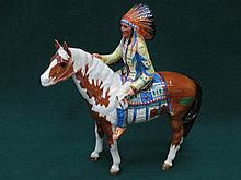 BESWICK GLAZED CERAMIC MOUNTED INDIAN NO 1391 BY MR ORWELL (AT FAULT) 21.5 cm