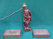 CARVED TREEN ORIENTAL TABLE LAMP AND TWO CARVED TREEN STORAGE BOXES