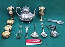SUNDRY LOT INCLUDING PLATED TEAPOT, FLATWARE, INDIAN STYLE BRASSWARE, ETC.