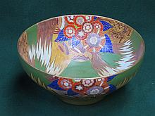 CARTON WARE HAND PAINTED AND GILDED FLORAL DECORATED CERAMIC BOWL  DIAMETER 25cm