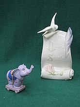 LLADRO SOCIETY PLAQUE & LLADRO ELEPHANT FORM BAUBLE