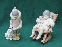 LLADRO GLAZED CERAMIC FIGURE OF A BOY WITH POLAR CUB & LLADRO GLAZED CERAMIC FIGURE OF A GIRL IN ROCKING CHAIR
