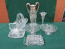 EIGHT PIECES OF VARIOUS CUT GLASS INCLUDING TWO HANDED URN, VASE, BASKET ETC..