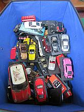 BOX CONTAINING APPROX FIFTY LOOSE DIE-CAST VEHICLES