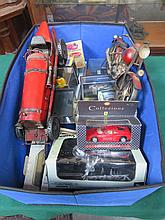 BOX CONTAINING VARIOUS MODERN BOXED DIE-CAST VEHICLES INCLUDING LLEDO ETC.. ALSO TWO OTHER VEHICLES.