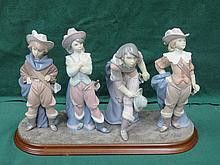 SET OF FOUR LLADRO GLAZED CERAMIC FIGURES - THE FOUR MUSKETEERS ON WOODEN PLYNTH