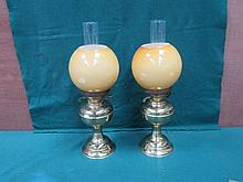 PAIR OF VINTAGE BRASS DUPLEX OIL LAMP WITH GLASS SHADES
