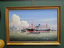 GILT FRAMED OIL ON CANVAS IN JOHN SHIMMIN OFF SS.PATROCLUS ON THE RIVER MERSEY. APPROX 59.5 CM X 90 CM