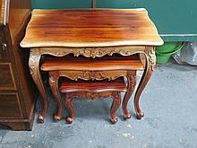 REPRODUCTION CARVED NEST OF THREE TABLES