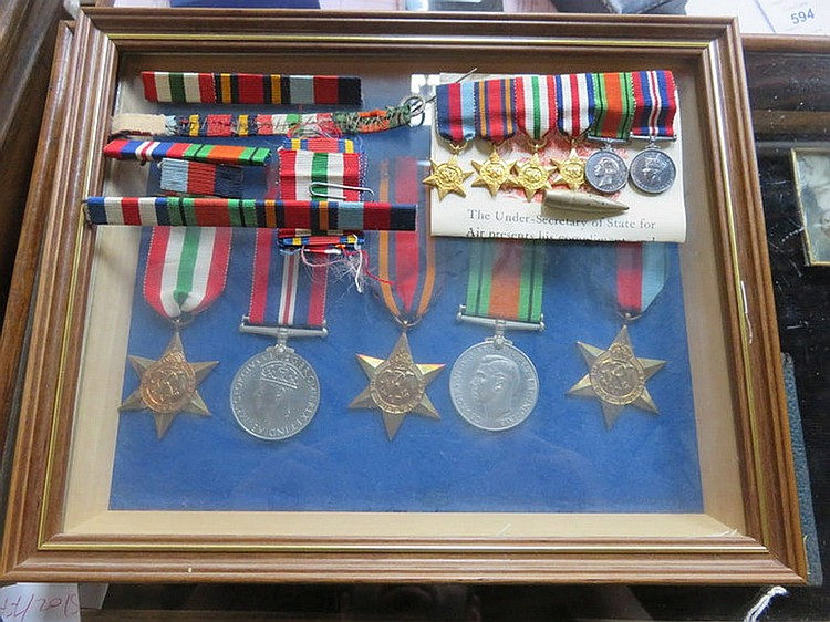 FRAMED WORD WAR II GROUP OF MEDALS AND MINIATURE MEDALS, ETC